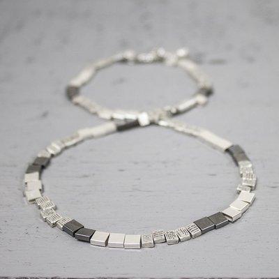 13873 - Jeh Collier 45 cm zilver blokjes + oxy