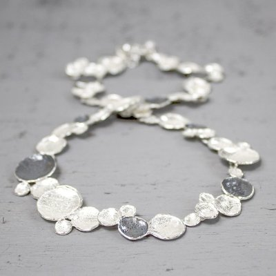 18067 - Jeh Collier zilver oxy + wit